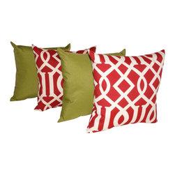Land of Pillows - Richloom Solarium Solar Kiwi & Kirwood Cherry Outdoor Pillow Set, 16x16 - Fabric Designer - Richloom Solarium