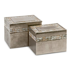 "Imax - Imax Set of 2 Hallowell Aluminum Mother of Pearl Boxes 7"" x 5"" x 5"" - Imax 60988-2 set of 2 Hallowell aluminum mother of pearl boxes 7"" x 5"" x 5"""