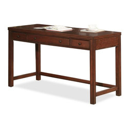 Riverside Furniture - Avenue Laptop Desk in Dark Cherry Finish - Center drawer has a hinged drop-front face and can be pulled out