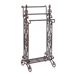 """IMAX - Narrow Quilt Rack - Traditional, narrow wrought iron quilt or towel rack in a dark finish with open-metalwork design features 3 horizontal bars Item Dimensions: (36""""h x 16.25""""w x 13.25"""")"""
