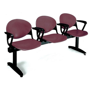 KFI Seating - Freestanding Beam Seating w 3 Seats & Backs ( - Color: Navy Blue3-Seat beam with arms. Made of 15 gauge steel sandtex frame, powder-coated in black. High impact polypropylene seat and back. Injection aluminum alloy back supports. Free standing with adjustable glides. Great for waiting rooms and common areas. Pictured in Burgundy. 71 in. W x 22 in. D x 31 in. H