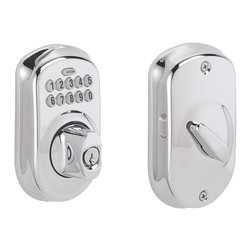Schlage - Schlage Plymouth Keypad Deadbolt in Bright Chrome - Keypad Deadbolt in Bright Chrome belongs to Plymouth Collection by Schlage No more keys to hide, lose, carry, or forget!  Keypad deadbolts offer keyless access and provide maximum security protection to make your life more convenient.  Install and program in minutes with no wiring required.  Schlage has built a legacy of providing the highest level of security to homes and businesses.  Install a Schlage, and you install nearly a century of total dedication to security, quality, and innovation.  Keypad Deadbolt (1)