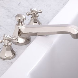 Cole Roman Tub Faucet, Polished Nickel finish - Our Cole Sink Faucet is known for its solid construction and clean profile. We've now added coordinating roman faucets to complete the collection. Crafted of brass, with a smooth rust-resistant finish. Rounded cross-hatch handles with vintage-style Hot and Cold lettering. Set includes tub faucet and handles. See available finishes below. Professional installation required. {{link path='pages/popups/sink_cole_roman_popup.html' class='popup' width='720' height='800'}}Learn more{{/link}} about how to install this tub set. View our {{link path='pages/popups/fb-bath.html' class='popup' width='480' height='300'}}Furniture Brochure{{/link}}.