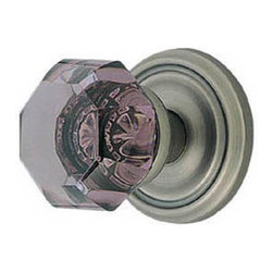 Violet Old Town Door Knob Set - Privacy, Passage and Dummy - This beautiful door knob set features knobs made of lead crystal that are hand polished for maximum clarity and brilliance. The gorgeous violet hue of each knob is magnified by the silver mirroring on the back side, which replicates true antique design.