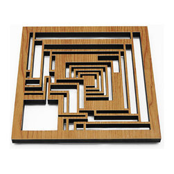 """Lightwave Laser - Frank Lloyd Wright Ennis Block Hardwood Trivet - The Frank Lloyd Wright Ennis Block Hardwood Trivet design is adapted from the concrete """"textile"""" blocks that comprise the Charles Ennis House in Los Angeles, California. Precision laser cut wood for quality of finish and design accuracy. Comes with sawtooth hanger for (optional) wall display. Dimensions: 7.75"""" x 7.75"""" x .5""""."""