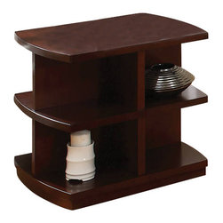 Steve Silver - Citadel End Table - Let the Citadel tables display all of your favorite treasures. The Citadel End Table has the shadow box style shelving wrapped in a warm cherry finish.