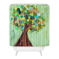 DENY Designs - Elizabeth St Hilaire Nelson Spring Tree Shower Curtain - Who says bathrooms can't be fun? To get the most bang for your buck, start with an artistic, inventive shower curtain. We've got endless options that will really make your bathroom pop. Heck, your guests may start spending a little extra time in there because of it!