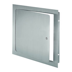 "Best Access Doors - Universal Flush Premium Access Door with Flange, Prime Coat, 10""x10"" - 10"" x 10"" Universal Flush Economy Access Door with Flange An innovative universal flush access door for walls and ceilings. It is designed for installation in drywall, plaster, masonry, tile or any flush surface. The door panel features rounded safety corners, which provide an architecturally pleasing appearance. The one-piece trim flange will not rack, sag or distort. The unique continuous concealed hinge will not bind or corrode, allowing the door to operate freely time and time again. For easy installation, the mounting frame is 1 1/4"" deep, giving maximum clearance behind the door frame"