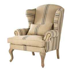 "Zacharie Club Chair - Stately and regal curves meld with striped English Khaki and gorgeous reclaimed elm creating the Zacharie Club Chair. The word ""club"" in club chair harks back to the gentlemen's clubs in nineteenth century England where a gentleman could go to get away from his household. Sit and daydream cozied up in a reading nook or by the fireplace with a cocktail and relax your mind in a chair designed for just that."