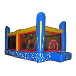 Kidwise Outdoor Products Inc - Commercial Jumping Dodgeball Interactive Inflatable Multicolor - KW-COM-JC 501 - Shop for Tents and Playhouses from Hayneedle.com! Kids will love testing their skill and accuracy while bouncing wildly in the Jumping Dodgeball Interactive Inflatable. This inflatable version of the classic game comes complete with a middle-target-hole wall and is crafted from 18-ounce reinforced vinyl material for durability. It can hold up to six players at a maximum weight of 600 pounds and includes stakes instructions blower warranty and 10 neoprene balls for maximum fun. Folded up or inflated the entire product weighs 250 pounds ideal for commercial use. Also includes 30 day warranty on material defects and workmanship.Information About DeliveryWe are pleased to offer LTL delivery on this item that includes tailgate service. Tailgate service means that the item is lifted off the truck and placed at an immediate curbside location such as a driveway or parking lot. Our LTL delivery service will call to pre-arrange a delivery time. Please note that the item is very heavy. We suggest you make separate arrangements for help moving the item to its final location. If you would like additional help with the item from the LTL delivery service you may make separate arrangements when confirming the delivery time. Additional help moving the item will require separate additional fees payable to the LTL carrier.A lead-free product: a note from KidwiseRecent concerns regarding inflatable bounce products with illegal lead concentrations have lead to allegations against producers and distributors of these products by the state of California. Naturally this serious matter is of concern to us and to our customers. Kidwise products are not included in these allegations. Our materials are tested at intervals throughout the year and after production runs. We have always tested for lead content in materials to verify our products are safe for kids. We also use 3P fabric wh