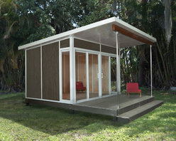 Zip Cabin - This is the ultimate back yard shed. To call it a shed isn't fair. It would be a great home office, extra guest house or pool house. The huge front porch is a great pace to sit and enjoy your beautiful back yard (hopefully with a pool or water feature). The clean, modern lines are functional and great looking.