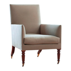 ecofirstart - The Lancaster Chair - Sleek and stately, this bergère armchair is crafted from sustainable mahogany and upholstered in premium coffee-hued linen. This wonderfully supportive chair features a padded back, and tapered, textured legs, replete with brass-cap castors for ease of movement around your sitting room or home office.