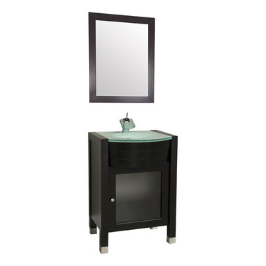 """Alya Bath - Elite Collection 24"""" Single Modern Bathroom Vanity, Espresso - This small bathroom vanity has a countertop of tempered glass and veneer wood (and solid oak wood) made espresso colored cabinet. This product is engineered to prevent the moisture perfectly."""