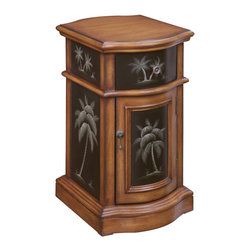 Coastal Style - Traditional style meets tropical dreams in this cabinet. The warm tones of the Maiana Brown finish is partnered with a deep ebony shade on each side, as well as the door and drawer panels. Hand painted palm trees brighten the dark insets and create a vacation vibe. Dimensions: 14.25x18x25 (ctc50711)