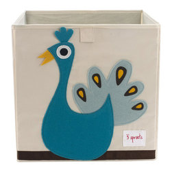 """3 Sprouts - 3 Sprouts Peacock Blue Storage Box - 3 Sprouts delivers playful personality to the home with practical, critter-themed products the whole family can enjoy. A cute cubby, the Peacock storage box offers ample space for holding a little one's toys and essentials. Constructed with reinforced cardboard sides, this black-trimmed cream cotton canvas bin delights with a black, yellow, blue and white eco-spun felt peacock applique. Spot clean. 13""""W x 13""""D x 13""""H."""