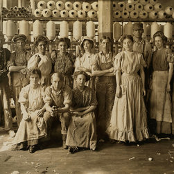 Operatives in Indianapolis Cotton Mill Print - Operatives in Indianapolis Cotton Mill. Noon Hour. Aug., 1908. Wit., E. N. Clopper. Location: Indianapolis, Indiana. Photographed by Lewis Hine in August 1908.