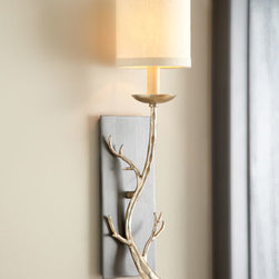 "Horchow - Golden Branch Sconce - With a nod to outdoor living, this ethereal sconce features a simple branch as its base. Crafted of hand-forged iron. Graphite and silver-leaf finish. Hardback linen shade. Uses one 60-watt bulb. Professional installation required. 4.75""W x 6.5""D..."