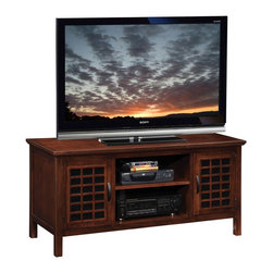 "Leick Furniture - ""Leick Furniture 50"""" TV Stand w/ Black Glass, Chocolate Cherry"" - ""The rich, chocolate finish, complemented with decorative black glass behind a unique grid door, puts forth a fresh, youthful air...while also cleaning up clutter and tucking it behind opaque (yet infrared friendly) glass door panels.Dimensions (W x L x D): 18"""" x 50"""" x 24""""Material: Hardwood solids & veneersFinish: Chocolate CherryCountry of Origin: ChinaHolds TV's up to 52""""Tempered black glass doors behind wood gridAdjustable shelves in component area and behind doorsComponent area 15.5"""" x 20"""". Black grid textured hardware. 240 lb. weight bearing capacity. Perforated back for wire management. Simple, unfolding assembly. Generous floor clearance for easy vacuum access."""