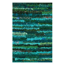 "Loloi Rugs - Loloi Rugs Eliza Shag Collection - Emerald, 2'-3"" x 3'-9"" - Get ready for a small rug that makes a big impact. Available in 2'3"" x 3'9"" and 3' x 5' scatter sizes, Eliza Shag is perfect for refreshing your kitchen, bathroom, or bedside with a pop of color. In fact, Eliza Shag doesn't just come in color, it's practically made of it. That's because most of the repurposed polyester fabric is hand dipped into rich dye lots and then hand woven together in India. The result is gorgeous colors - serene ocean blue, warm paprika, and elegant ivory - and a fun ruffled texture that's going to uplift the entire mood of your room."