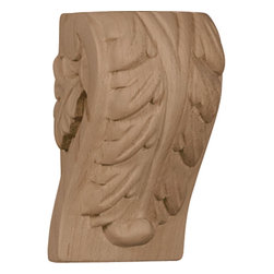 "Ekena Millwork - 1 3/4""W x 1 1/2""D x 3""H Mini Acanthus Leaf Block Corbel, Hard Maple - Enjoy the warmth and beauty of carved wood corbels. With the proper installation, these wood brackets can support up to 250lbs, which gives you the flexibility to use a decorative bracket for support. Available in a variety of species, these brackets ship to you fully sanded and ready for your paint or stain."