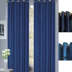 None - Capri Denim Grommet-top 96-inch Curtain Panel Pair - This 96-inch washed denim curtain panel pair adds a casual flair to your home decor. These window treatments hang from grommets,assuring easy opening and closing,while the denim fabric affords the privacy you need with comfortable style.