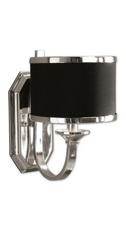Uttermost - Uttermost 22442  Tuxedo Black Wall Sconce - Sleek silver arms and smart black shading make this distinctive family unique. silver plated metal with a black hardback shade.