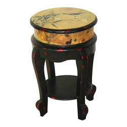Oriental Furniture - Golden Flower Stool - At 18 inches tall, this is a versatile home decor accessory, with lots of interesting decorative possibilities. A great size for putting on and taking off shoes, a plant stand or art display. This is a beautifully decorated stool, with a distinctive Chinese art decoupage design, and an elegant black over red distressed lacquer finish.