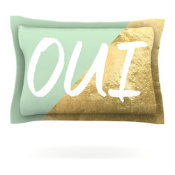 """Kess InHouse - KESS Original """"Oui Gold"""" Metallic Pillow Sham (Cotton, 40"""" x 20"""") - Pairing your already chic duvet cover with playful pillow shams is the perfect way to tie your bedroom together. There are endless possibilities to feed your artistic palette with these imaginative pillow shams. It will looks so elegant you won't want ruin the masterpiece you have created when you go to bed. Not only are these pillow shams nice to look at they are also made from a high quality cotton blend. They are so soft that they will elevate your sleep up to level that is beyond Cloud 9. We always print our goods with the highest quality printing process in order to maintain the integrity of the art that you are adeptly displaying. This means that you won't have to worry about your art fading or your sham loosing it's freshness."""