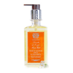 Orange Blossom, Lilac, and Jasmine Hand Wash 10 oz. - A simple, elegant bottle with a vivid yet restrained label and a refined etching even on its pump top, the bottle that contains Orange Blossom, Lilac, and Jasmine Hand Wash looks refined beside your sink � but this is the least of the reasons to have this foaming hand cleanser close by.  Almond oil, silk protein, and other natural ingredients mean the lathering wash is as nourishing as it is fragrant.