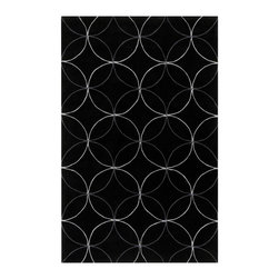 Surya - Surya Cosmopolitan Hand Tufted Black Polyester Rug, 9' x 13' - Great contemporary designs with a bright color palette and a price in reach of every buyer. Hand tufted from poly-acrylic fibers, these rugs will not shed. Our Cosmopolitan Collection is a beautiful addition to any decor. Imported.Material: 100% PolyesterCare Instructions: Blot Stains