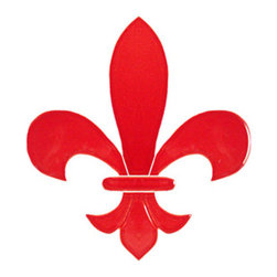 """Glass Tile Oasis - Fleur de Lis Pool Accents Red Pool Glossy Ceramic - Sheet size: 6"""""""