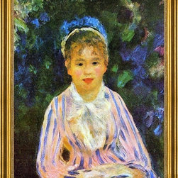"Pierre Auguste Renoir-16""x20"" Framed Canvas - 16"" x 20"" Pierre Auguste Renoir Young Woman in a Blue and Pink Striped Shirt framed premium canvas print reproduced to meet museum quality standards. Our museum quality canvas prints are produced using high-precision print technology for a more accurate reproduction printed on high quality canvas with fade-resistant, archival inks. Our progressive business model allows us to offer works of art to you at the best wholesale pricing, significantly less than art gallery prices, affordable to all. This artwork is hand stretched onto wooden stretcher bars, then mounted into our 3"" wide gold finish frame with black panel by one of our expert framers. Our framed canvas print comes with hardware, ready to hang on your wall.  We present a comprehensive collection of exceptional canvas art reproductions by Pierre Auguste Renoir."