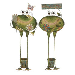 "Benzara - Creative Styled Standing Metal Frog Planter 2 Assorted - Introducing metal frog planter 2 assorted that will be a great addition to your garden space. Made of quality metal this frog planter will last for years. This frog planter 2 assorted features standing animated frog with flowers and leaves designed on it. The frog holds a bucket down their leg in which you can place a small plant and add creativity to any space. You can add this metal frog planter 2 assorted to your indoors else outdoor space. Guests paying a visit over your place will be surprised to check out this wonderful Metal Frog Planter 2 Assorted. They'll be enticed to add one to their interiors. Besides, this Metal Frog Planter 2 Assorted can also be gifted to your near and dear ones. Get this Metal Frog Planter 2 Assorted right away. Metal Frog Planter 2 Assorted measures 14 inches (W) x 7 inches (D) x 36 inches (H); Made of quality metal; Green color palette with multicolor flowers and leaves; Dimensions: 14""L x 11""W x 4""H"