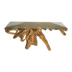 NOIR - NOIR Furniture - Teak Root Large Console with Glass - Features: