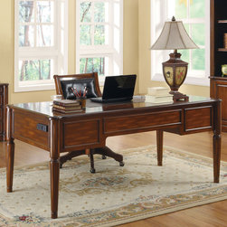 Coaster - Peterson Desk - Create a classic look with all the practicality needed for an efficient home office. The Peterson collection features a warm walnut finish with detailed moldings and decorative hardware. This desk features built-in wire management outlets on the side, plenty of storage space and a leather-like inlay to provide a softer work surface. Whether you have a large office or a small one, this bookcase is ready to accommodate any size room. Built with removable moldings, these bookcases can be placed side by side to create a large seamless storage unit.