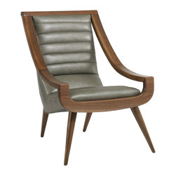 DwellStudio - DwellStudio Leland Leather Chair - The DwellStudio Leland chair resonates statement-making form in contemporary interiors. Atop an exposed wood frame and tapered legs, the sculptural seat impresses with softly ribbed leather. Available in several fabric and finish options; Solid walnut