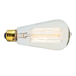 Manhattan Project Design Shop - 60-Watt Lightbulb - This 60 WATT LIGHT BULB makes a perfect companion to your new lamp. Each bulb features clear-glass and exposed carbon filaments, and will enhance any lamp with some industrial, old-school charm.