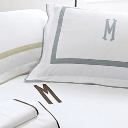 "Morgan Applique 400-Thread-Count Duvet Cover, King/Cal. King, Espresso - Our popular Morgan bedding is tailored with flat piping and a slim mitered border - a handsome frame for an embroidered monogram. 100% cotton percale. 400 thread count. Tailored with flat contrasting piping and a mitered border. Duvet cover has hidden faux-shell button closure and interior ties to keep the duvet in place. Sham has an envelope closure; insert is sold separately. Machine wash. Catalog / Internet only. Imported. Monogramming is available at an additional charge. Monogram is 3"" will be centered on the duvet cover and the sham."