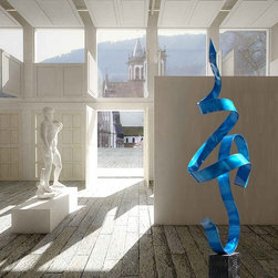 Blue Abstract Handcrafted Fine Metal Sculpture - Blue Perfect Moment by Jon Alle - The blue ribbon that loops, twists and spirals, rising up from a gentle perch on top of its base, turns back on itself, capturing a single moment, its visual movement suggestion real motion, a dance that last forever. This contemporary metal art piece is a graceful defiance of gravity, a weightless element that rests lightly on a curved foot and flies heavenward.