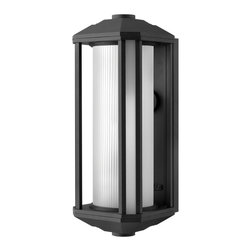Hinkley Lighting - Hinkley Lighting 1395BK-GU24 Castelle 1 Light Outdoor Wall Lights in Black - Castelle's transitional style features clean lines and a ribbed etched glass cylinder accented by etched amber corner panels, adding to its sophisticated look.