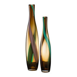 Kathy Kuo Home - Medium Brown and Green Smoked Vase - A subtle study in motion and line, this small smoked glass vase has a drip-method vertical stripe of green paint flowing through it. With simplicity and grace, a uniquely modern statement is made.