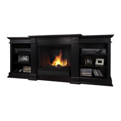 Real Flame - Real Flame Fresno Indoor Gel TV Stand Fireplace in Black - Real Flame - Fireplaces - G1200B -Enjoy the ambiance of a Real Flame Fireplace, this substantial freestanding Fireplace also doubles as an entertainment center. Available in dark walnut, black and white, this unit is able to hold a television of 100 lbs or less and has adjustable shelving to accommodate most electronics.