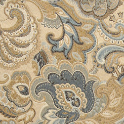 Gold, Blue and Green, Abstract Paisley Upholstery Fabric By The Yard - This contemporary upholstery jacquard fabric is great for all indoor uses. This material is uniquely designed and durable. If you want your furniture to be vibrant, this is the perfect fabric!