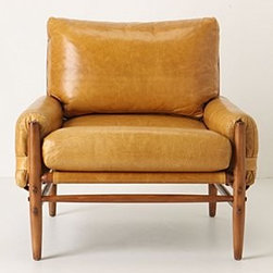 """Anthropologie - Rhys Chair - Walker finishEight-way hand-tied seat constructionLeather upholsteryKiln-dried hardwood frame; polyfillProfessionally clean33""""H, 33""""W, 30""""DSeat: 19""""HHandcrafted in USA"""