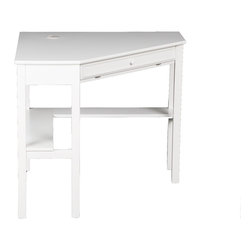 """Holly & Martin - Holly & Martin Alexander Corner Computer Desk, White - No house is complete in the modern era without a convenient home office. Why settle for a solution that clutters your home when this contemporary white corner desk can save you space and add style? On the top, a circular cord keeper is recessed into the surface near the corner to guide and organize all of your computer cords. The front drawer folds down to reveal a retractable tray that allows you to store your keyboard and mouse dust free and out of sight. Approximately 14"""" above the floor, an 8"""" deep shelf lines the back edge of the desk along the wall for easily accessible storage of books, disks or other computer gadgets. Both a stylish and useful piece of furniture, this corner computer desk is a must have for every home."""