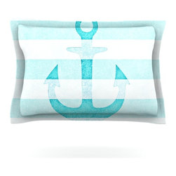 """Kess InHouse - Monika Strigel """"Stone Vintage Aqua Anchor"""" Pillow Sham (Cotton, 30"""" x 20"""") - Pairing your already chic duvet cover with playful pillow shams is the perfect way to tie your bedroom together. There are endless possibilities to feed your artistic palette with these imaginative pillow shams. It will looks so elegant you won't want ruin the masterpiece you have created when you go to bed. Not only are these pillow shams nice to look at they are also made from a high quality cotton blend. They are so soft that they will elevate your sleep up to level that is beyond Cloud 9. We always print our goods with the highest quality printing process in order to maintain the integrity of the art that you are adeptly displaying. This means that you won't have to worry about your art fading or your sham loosing it's freshness."""
