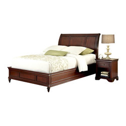 Home Styles - Home Styles Lafayette Sleigh Bed and Night Stand-Queen - Home Styles - Beds - 55375019 - An opulence of design heightens the allure of the Lafayette Bedroom collection. Lafayette Sleigh Bed and Nightstand by Home Styles is inspired by Ancestral traditional design.