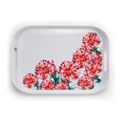 Q Squared NYC - Rectangular Tray With Handles, Madison Bloom, Brush Floral - Made of lightweight melamine with wide handles, this tray is so easy to carry you'll be serving with a smile. Plus, the bright, brush-stroked floral will inspire impromptu parties. Brunch in bed, anyone?
