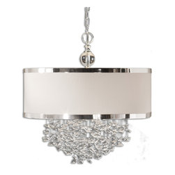 Uttermost - Uttermost 21908 Fascination 3 Light Silver Drum Pendant with Crystals - Silver Plated Finish w/ Crystal Accents and Off White Linen Shade