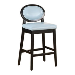 """Armen Living - Martini 30"""" Stationary Barstool, Sky Blue Leather With Black Legs - Vibrant sky blue 30 inches 100% leather contemporary barstool with an ebony wood frame. Armen Living is the quintessential modern-day furniture designer and manufacturer. With flexibility and speed to market, Armen Living exceeds the customer s expectations at every level of interaction. Armen Living not only delivers sensational products of exceptional quality, but also offers extraordinarily powerful reliability and capability only limited by the imagination. Our client relationships are fully supported and sustained by a stellar name, legendary history, and enduring reputation. The groundbreaking new Armen Living line represents a refreshingly innovative creative collaboration with top designers in the home furnishings industry. The result is a uniquely modern collection gorgeously enhanced by sophisticated retro aesthetics. Armen Living celebrates bold individuality, vibrant youthfulness, sensual refinement, and expert craftsmanship at fiscally sensible price points. Each piece conveys pleasure and exudes self expression while resonating with the contemporary chic lifestyle."""